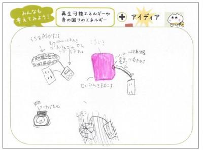 4年生T君のアイディア。振動を利用した「振動発電」の紹介をしたところ、口の開閉からエネルギーを得る機械を考えてくれました!発想が柔軟です。