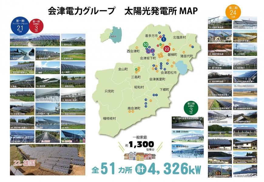 会津電力グループ 第一期~第三期太陽光発電所地図