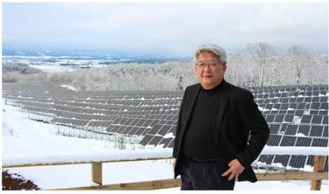 雪の雄国発電所と会津電力代表・佐藤彌右衛門